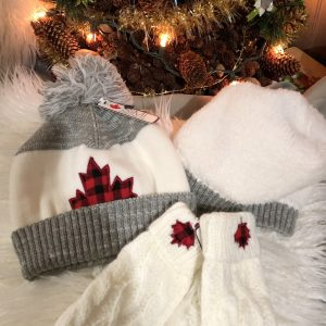 SIMI WHITE/GREY CANADIAN TOQUE & MITTS